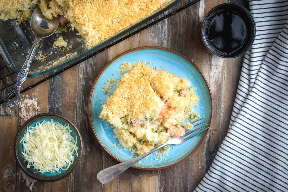 turkey casserole with swiss cheese and ham