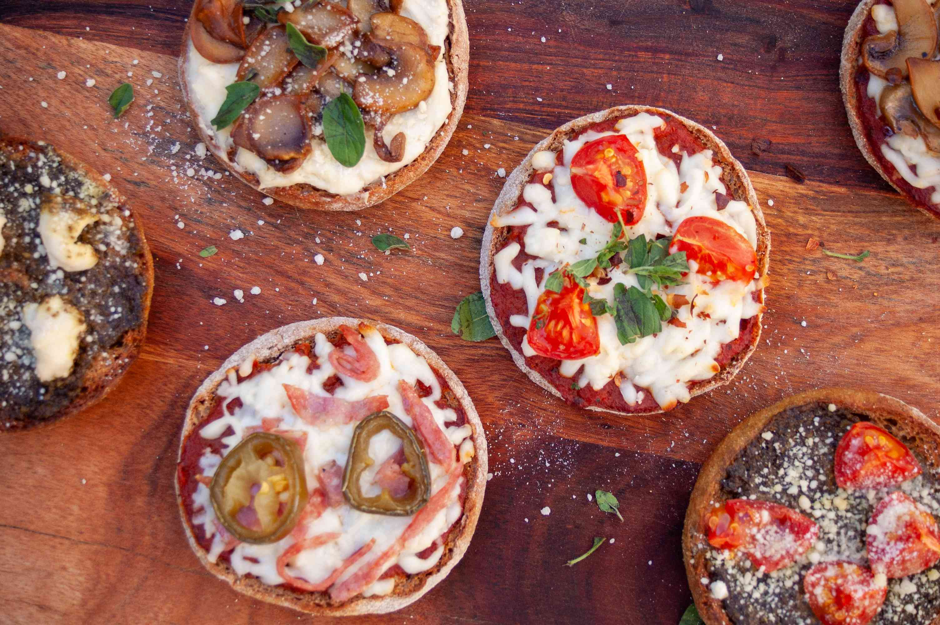 assorted english muffin pizzas