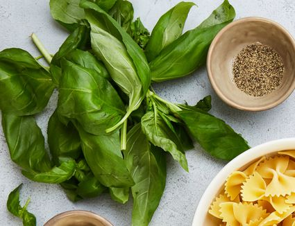 fresh basil, pepper and bow tie pastas