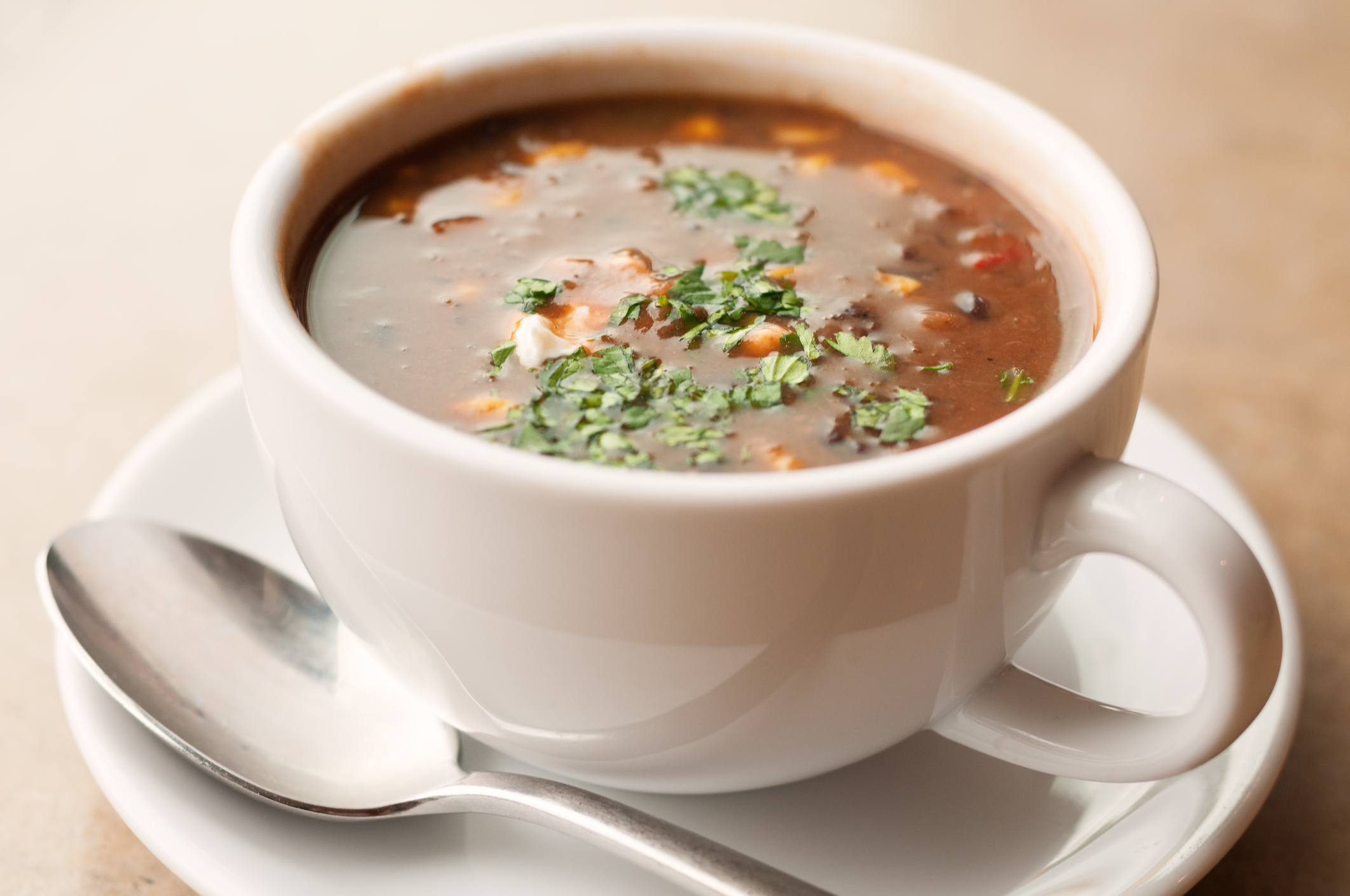 Black bean soup in a cup