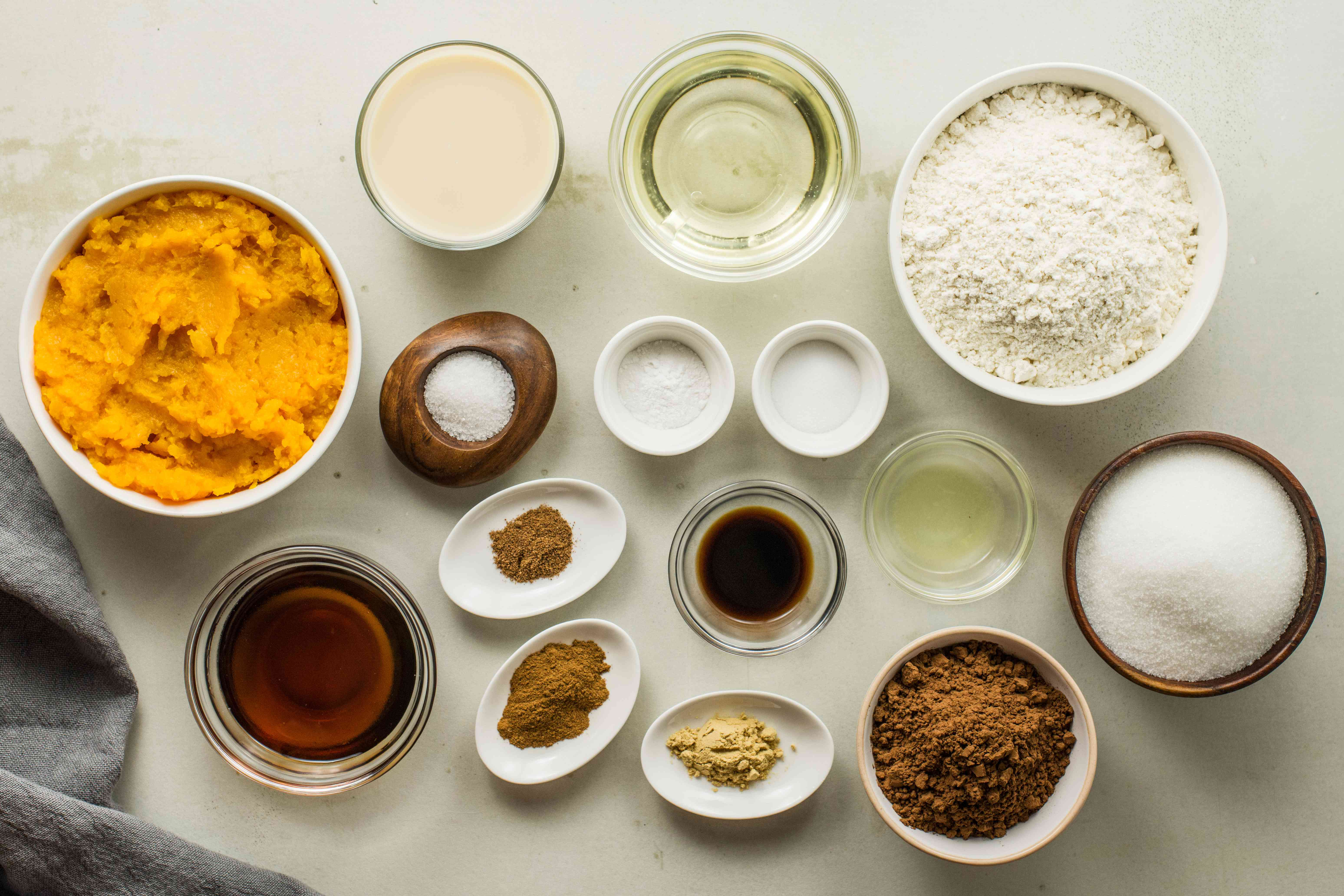 Ingredients for vegan chocolate pumpkin cake