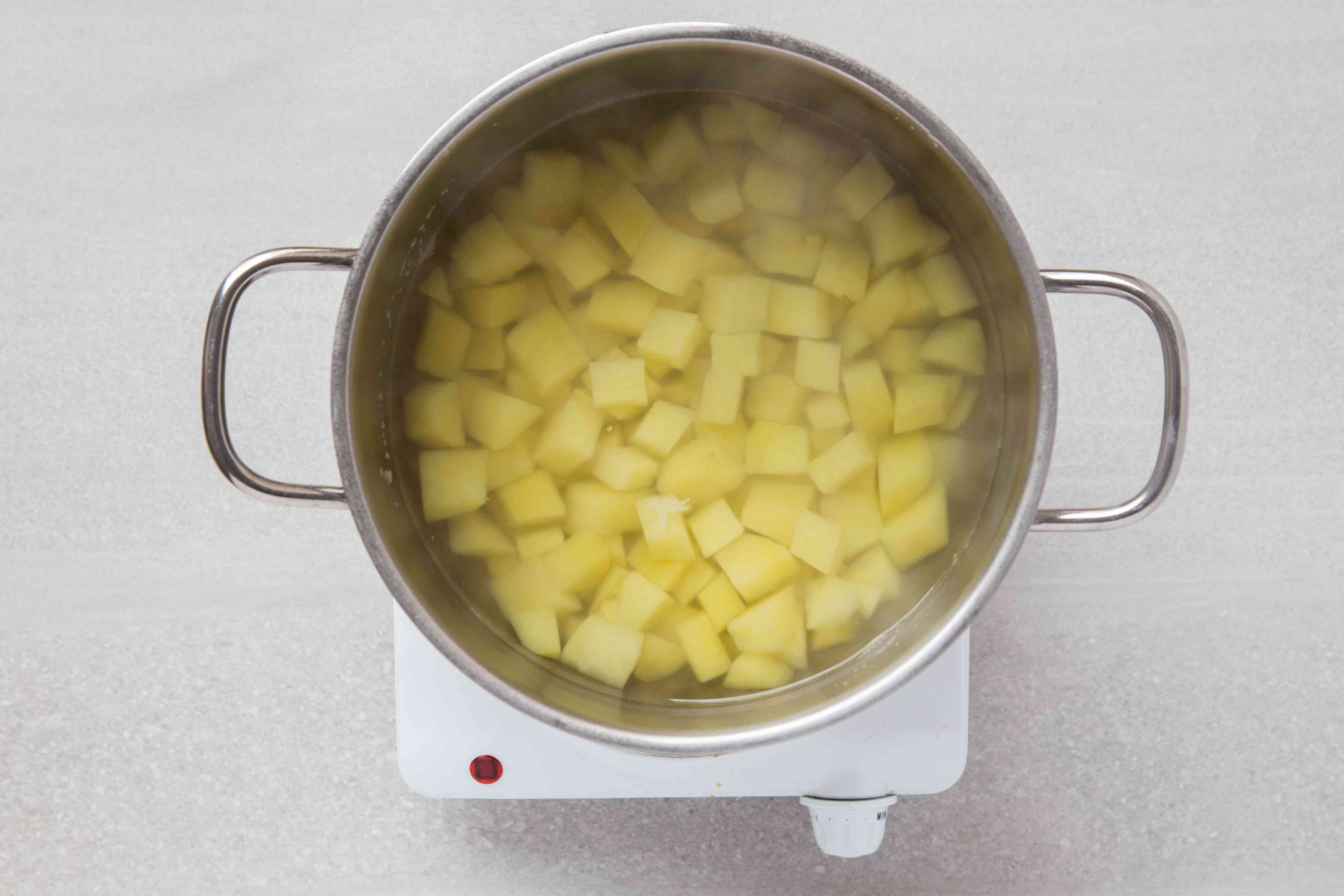 potatoes cooking in a pot