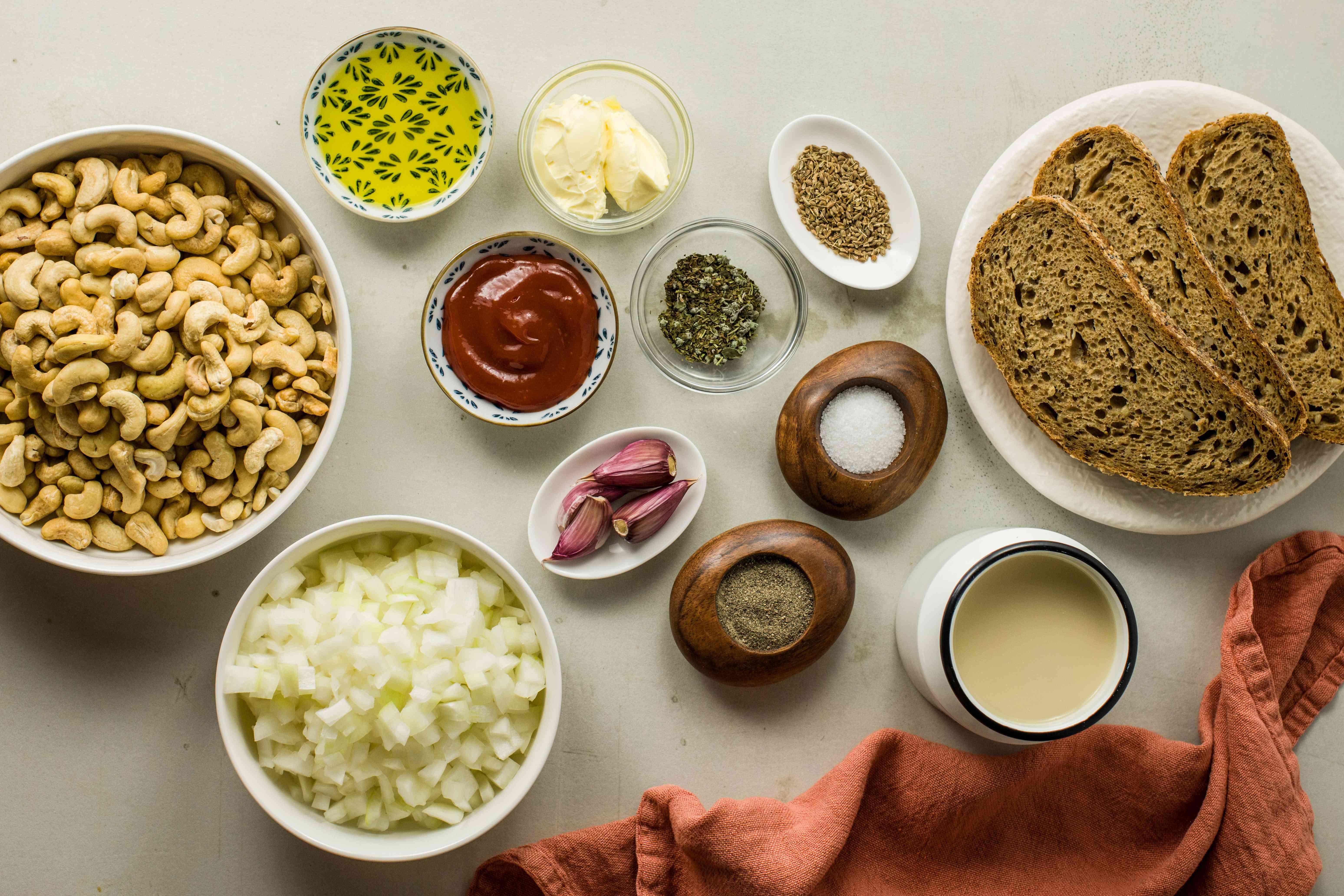 Ingredients for cashew nut loaf