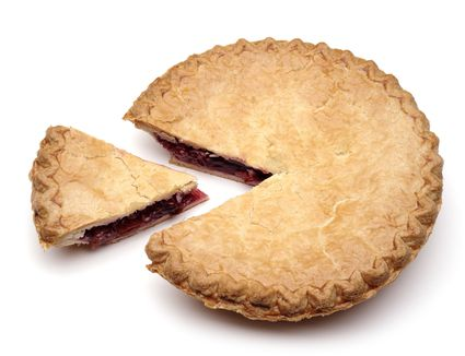 A slice of cherry pie removed from main pie