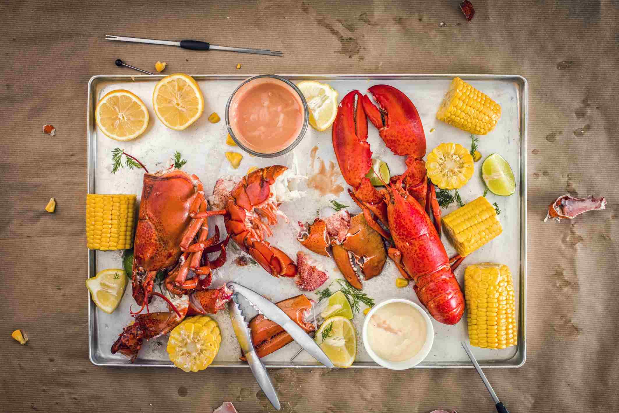 Lobster Dinner in Progress