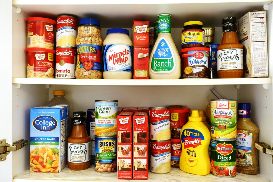 pantry stocked with dried goods and non-perishable foods