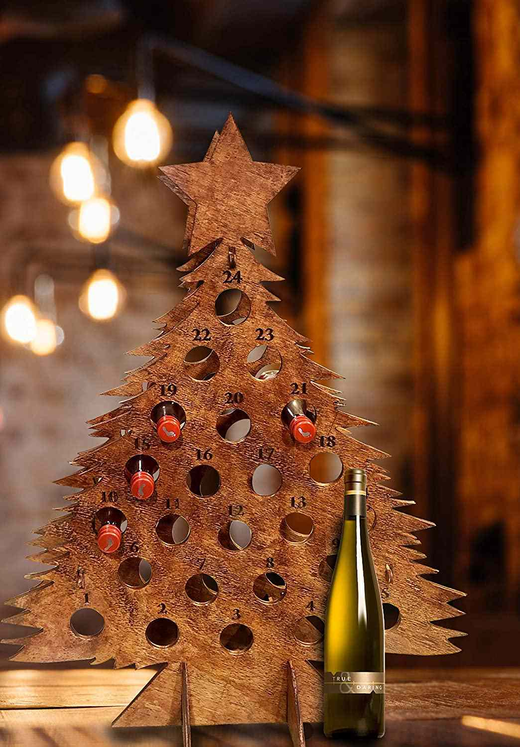 Knot In Your House Wooden Christmas Tree Wine Advent Calendar