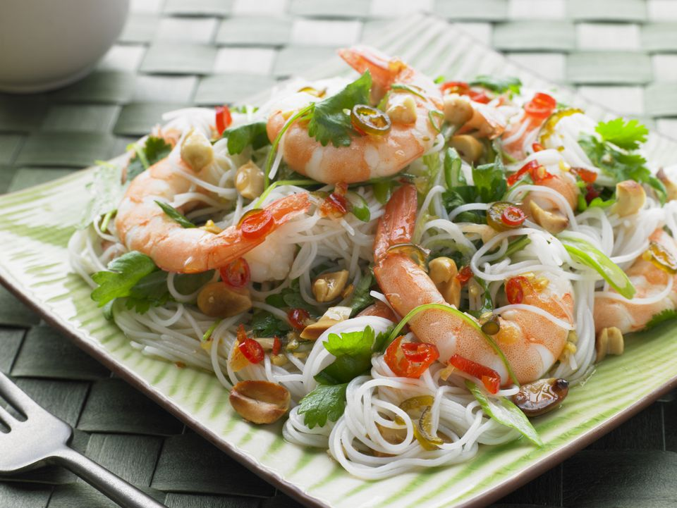 Hot and sour Tiger Prawn Cellophane Noodle Salad with Chilli