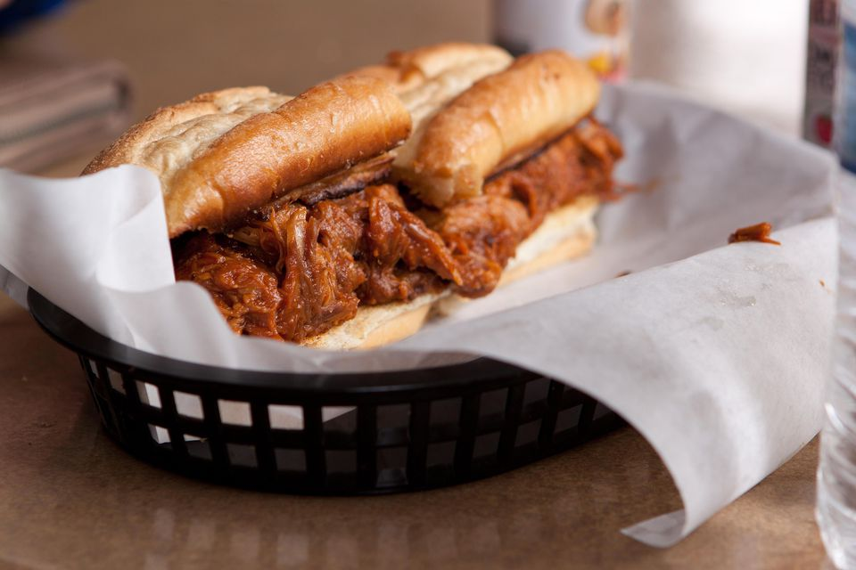 Memphis-style pulled pork sandwich