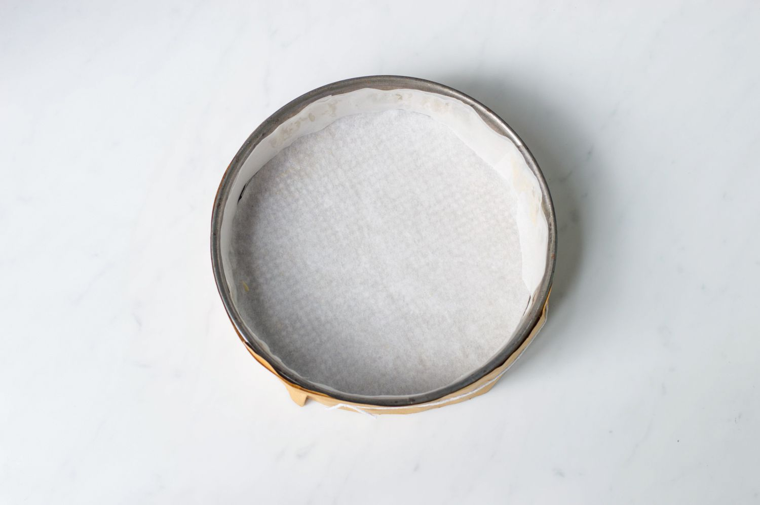 Cake tin lined with parchment