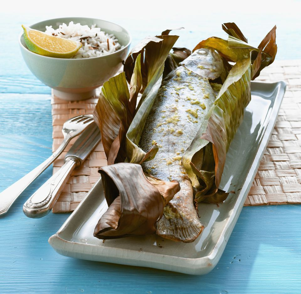 Fish in banana leaf with rice