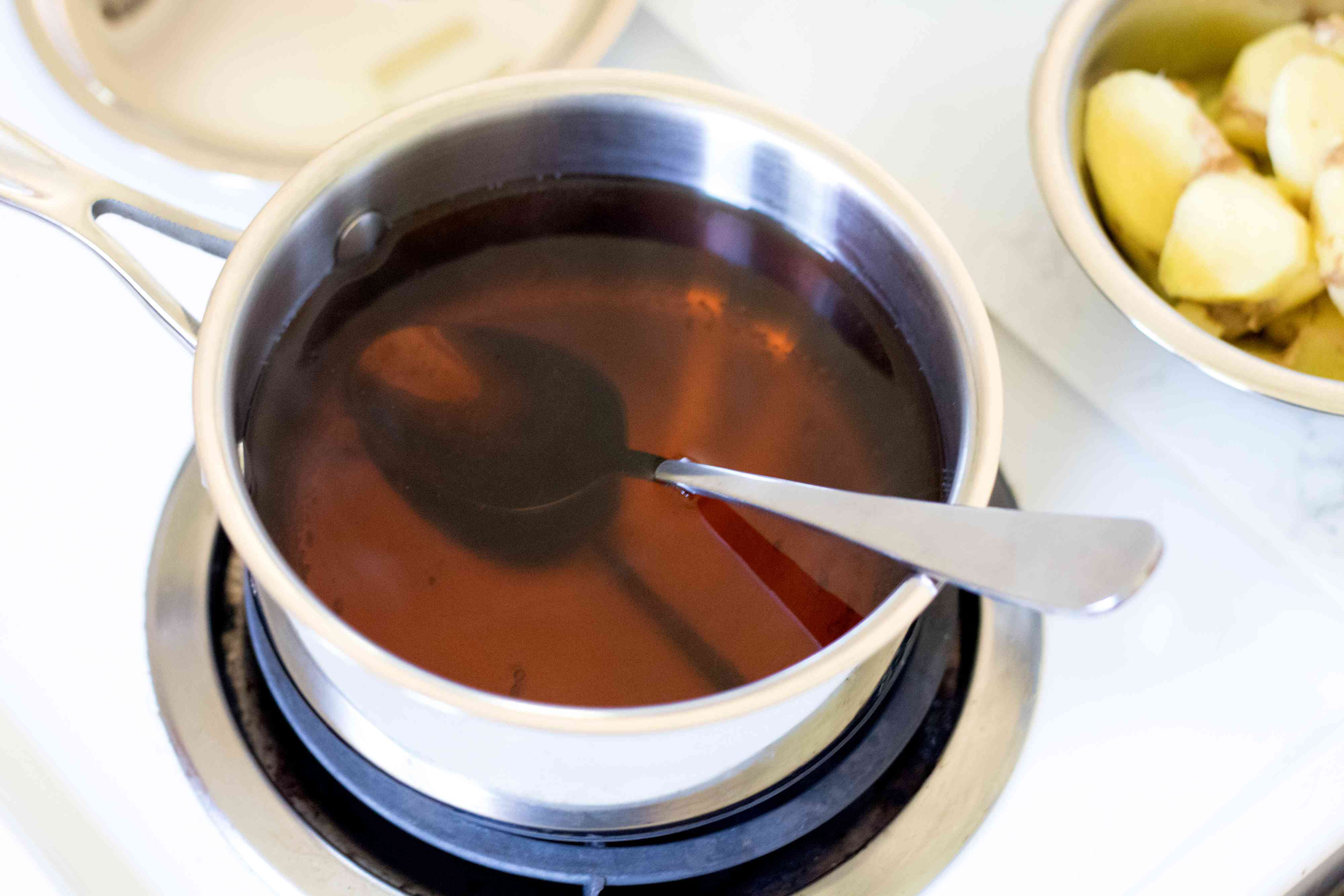 Homemade Ginger Syrup on the Stovetop