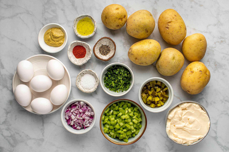 Ingredients for Instant Pot potato salad