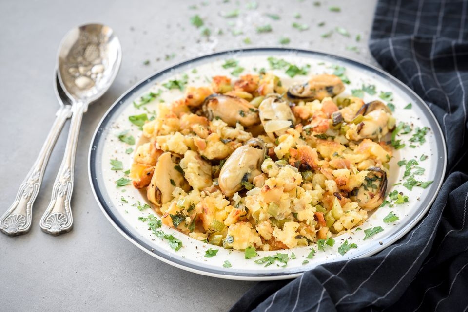 Southern cornbread and oyster dressing