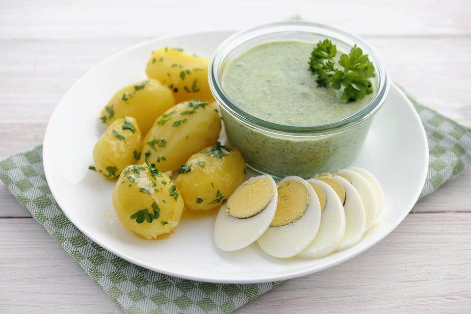 German Green sauce with potatoes and hard boiled eggs