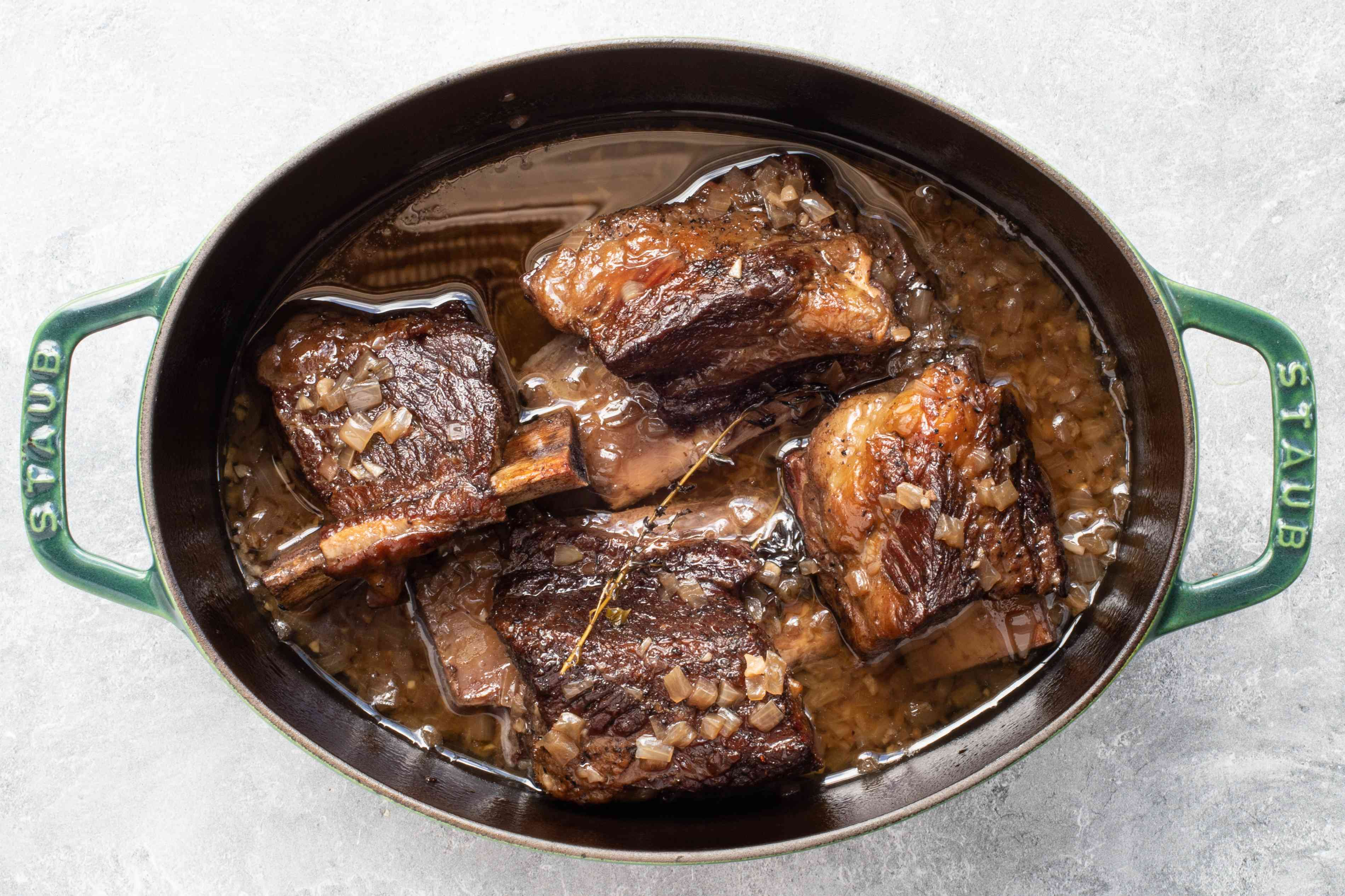 Dutch oven with braised beef short ribs