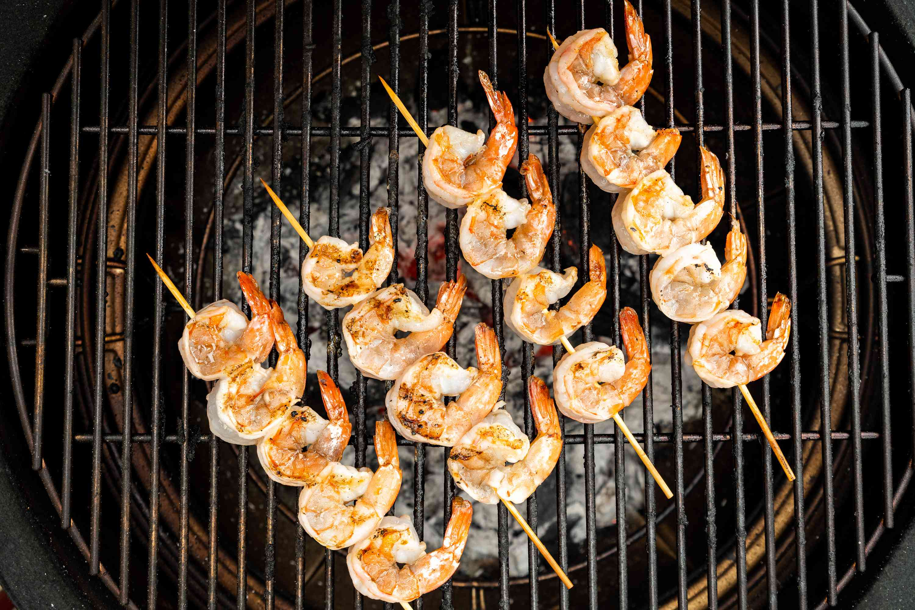 shrimp cooking on the grill