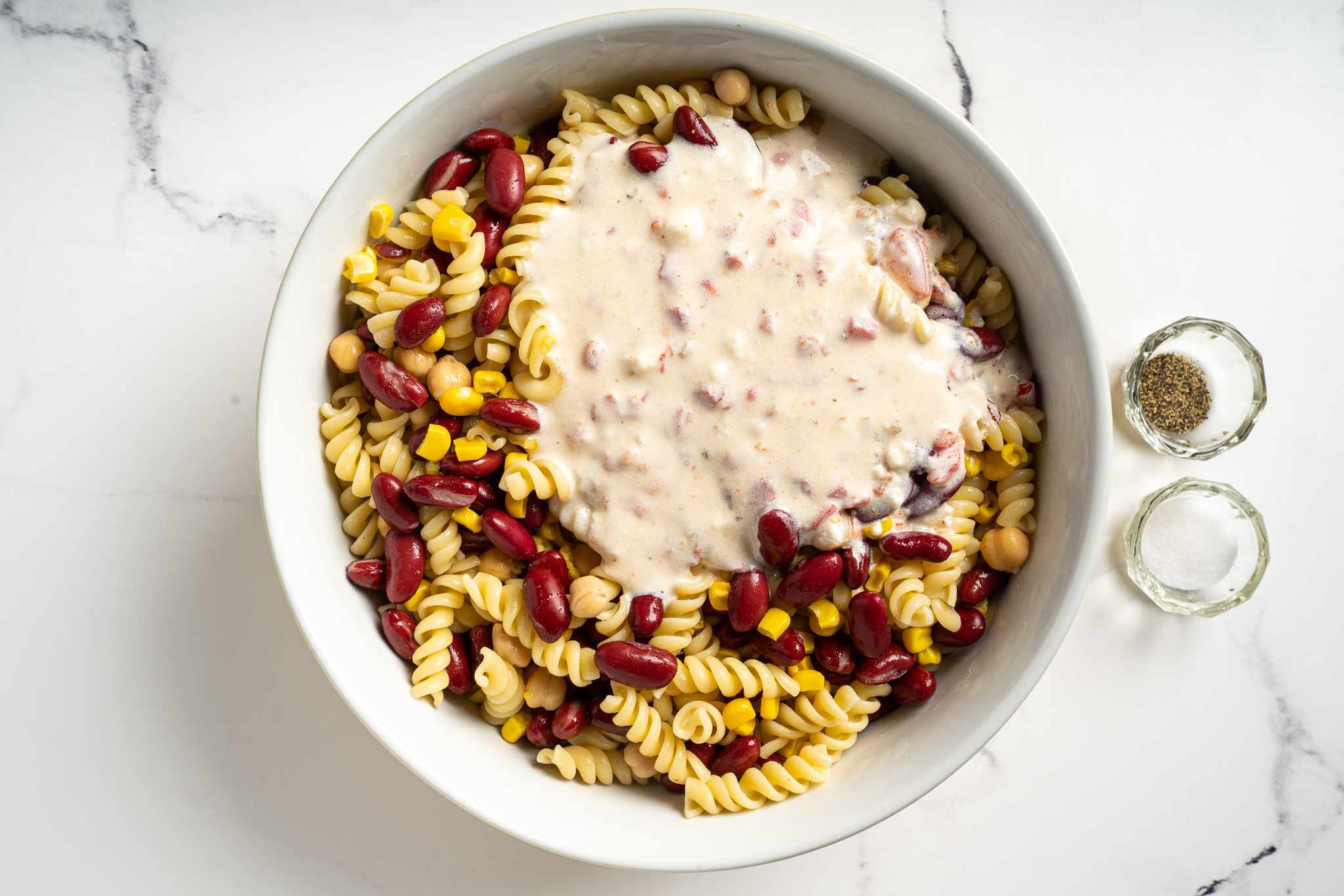 Quick and Easy Pasta and Bean Salad in a bowl