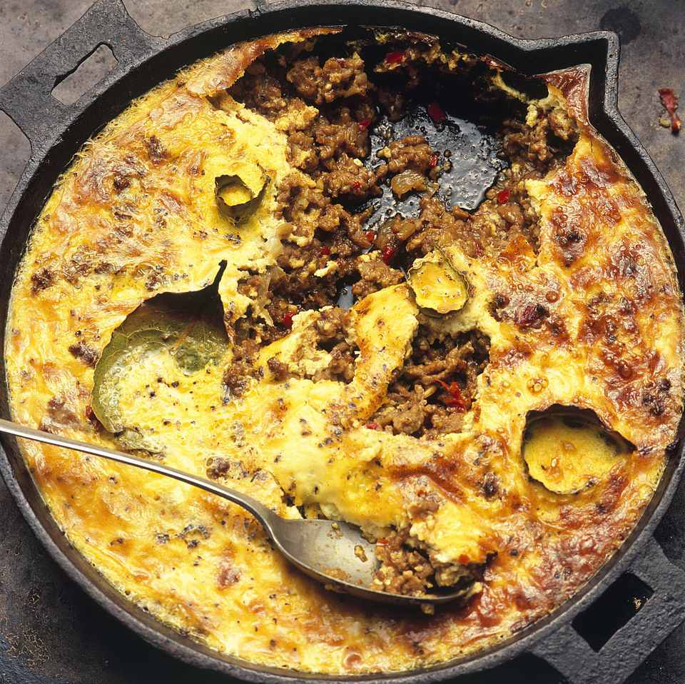 Bobotie, spiced mince baked with savoury custard, from South Africa