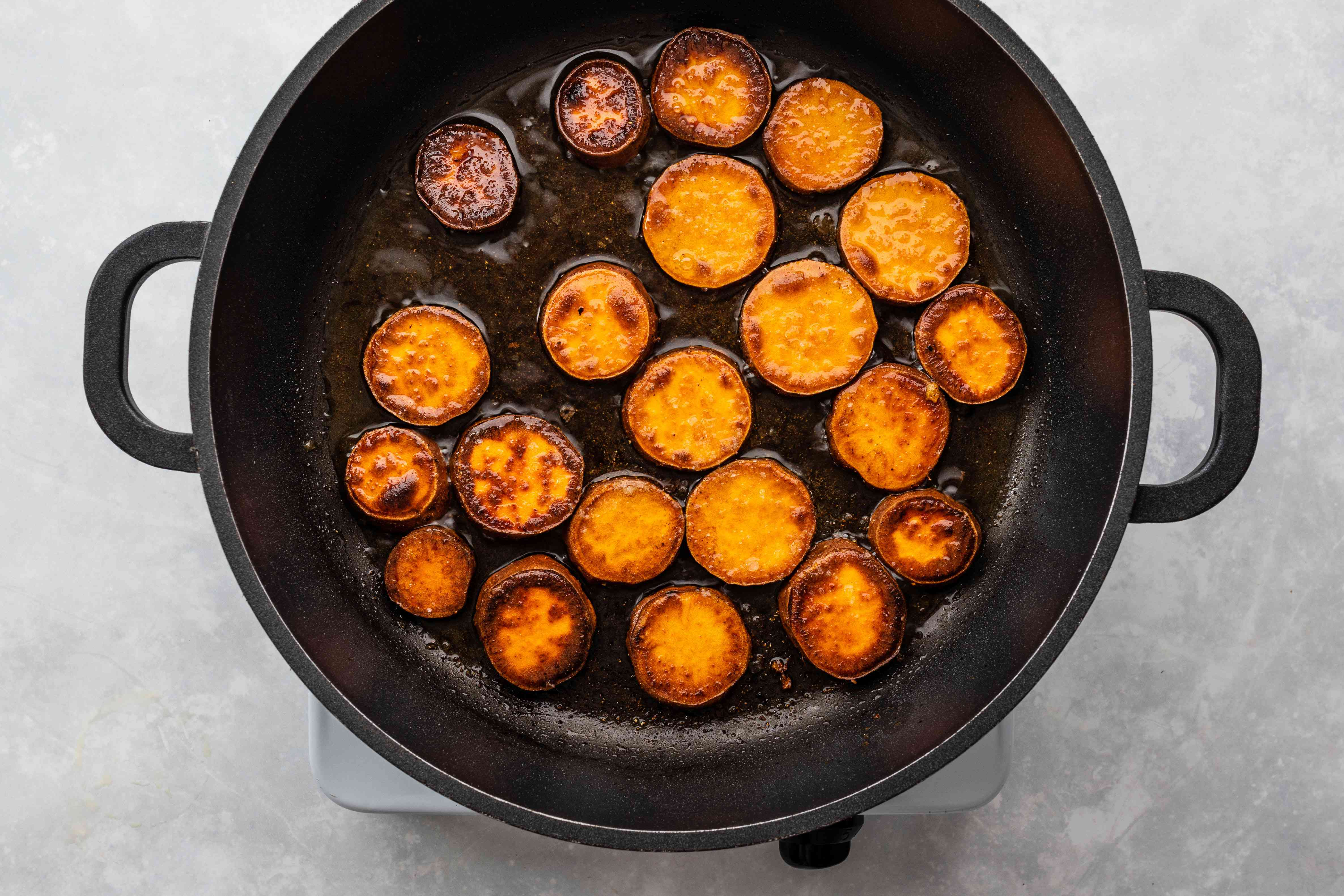 Allow sweet potatoes to cook