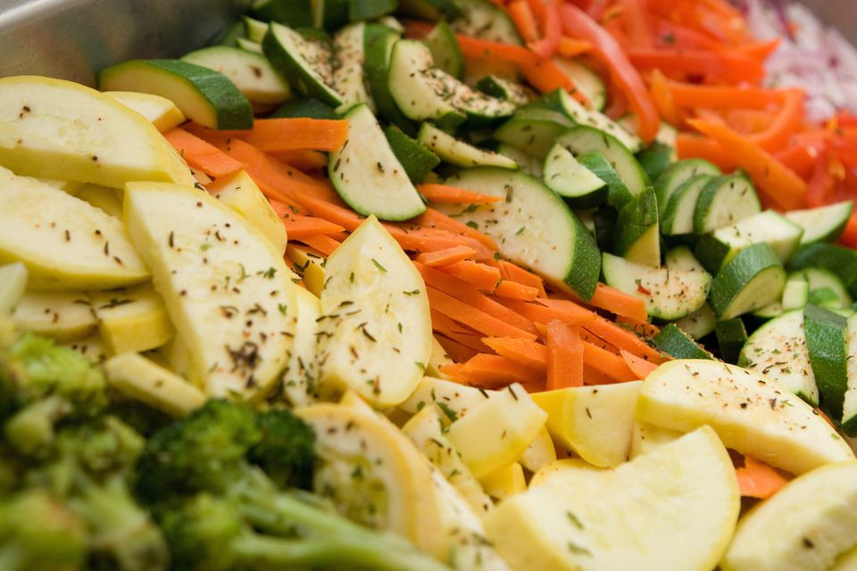 Steamed Vegetables with garnish at catered event