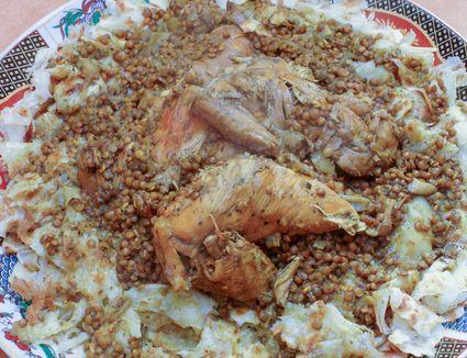 Moroccan Chicken Rfissa - Trid Pastry with Chicken, Lentils, and Fenugreek