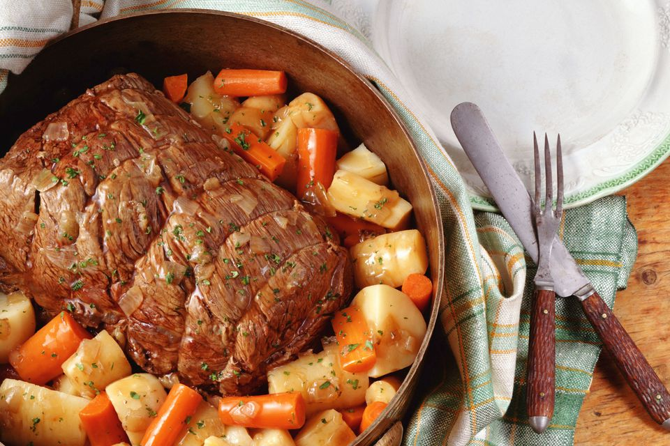 Pot roast with carrots, rutabaga, and potatoes