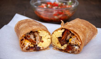 potato egg and sausage breakfast burrito