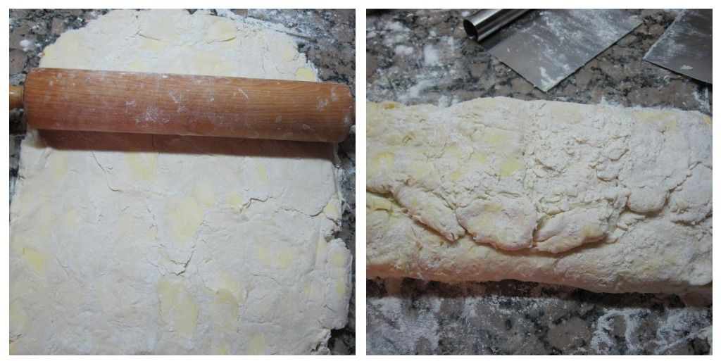 First Folding of the Croissant Dough - the Dough Will Smooth out Later