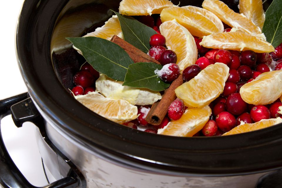 Cranberry sauce in a slow cooker