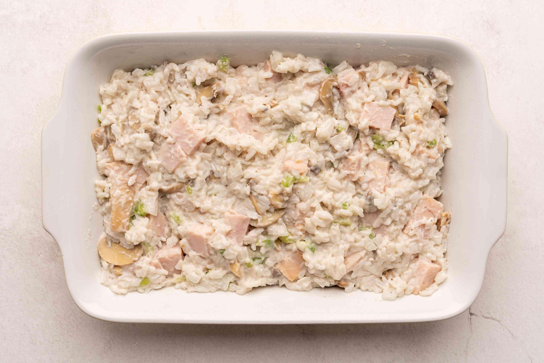 Turkey casserole ingredients in a casserole dish