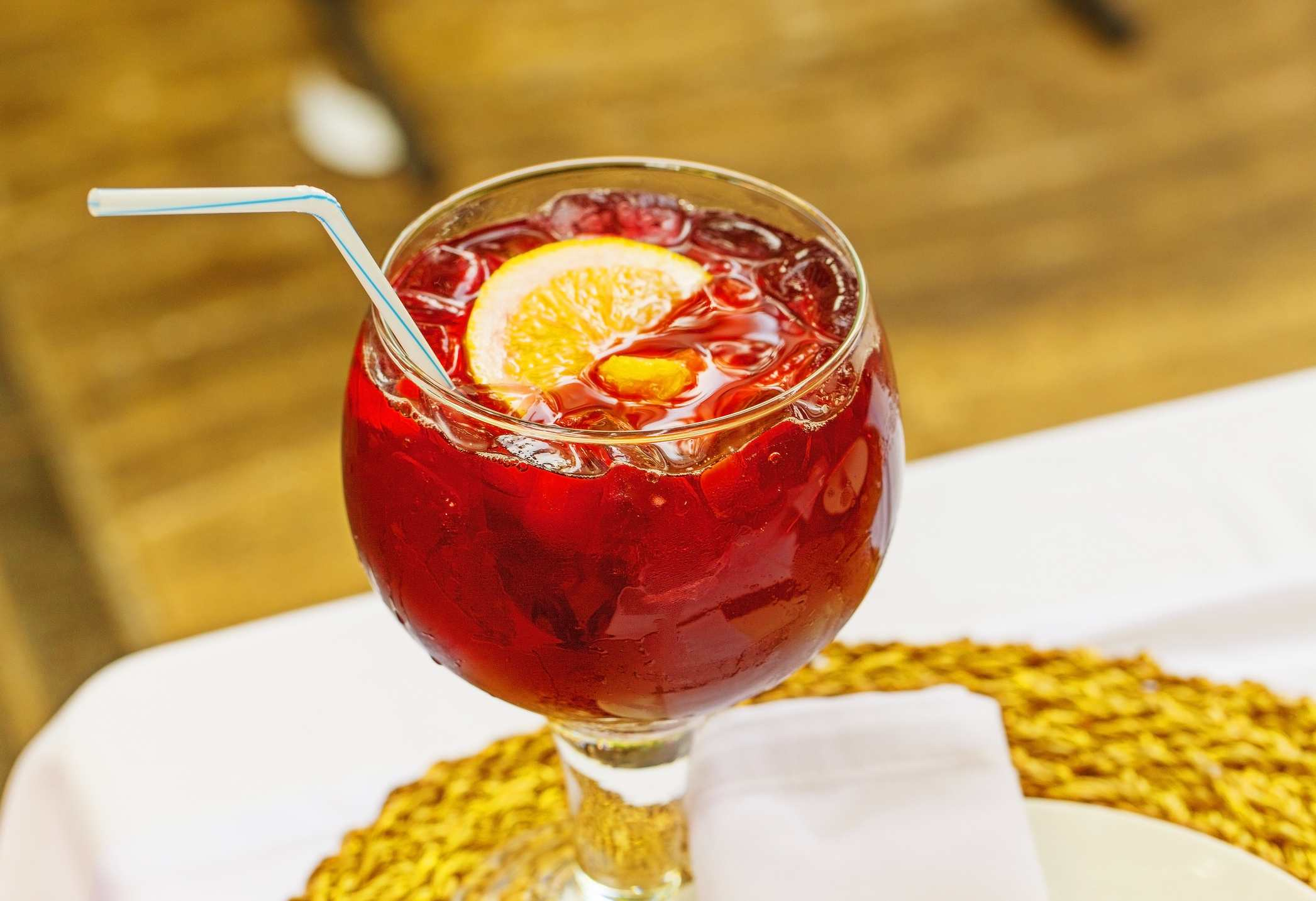 Tinto De Verano in glass with straw
