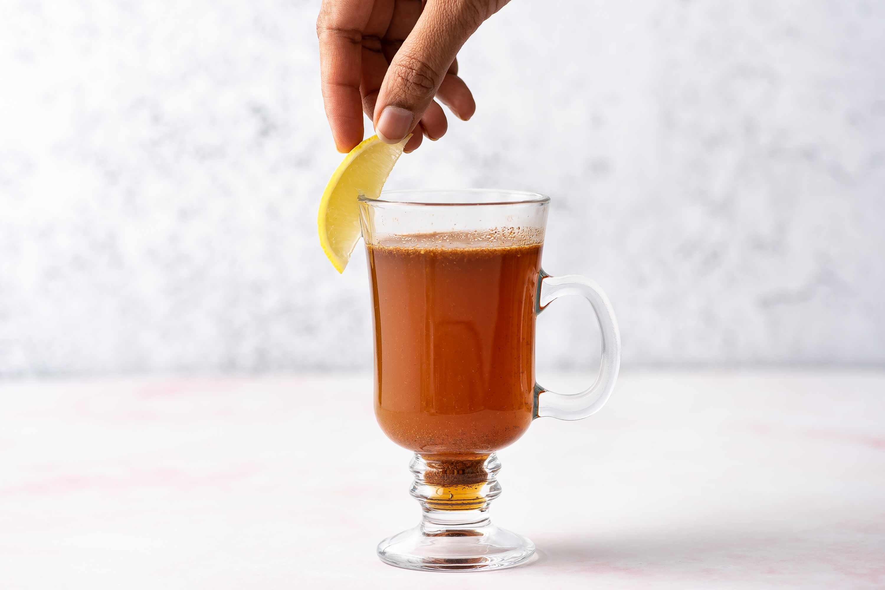 Nonalcoholic Hot Not Toddy, garnished with a lemon wedge