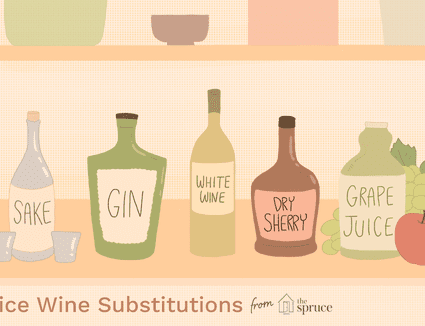 Illustration depicting various substitutes for rice wine