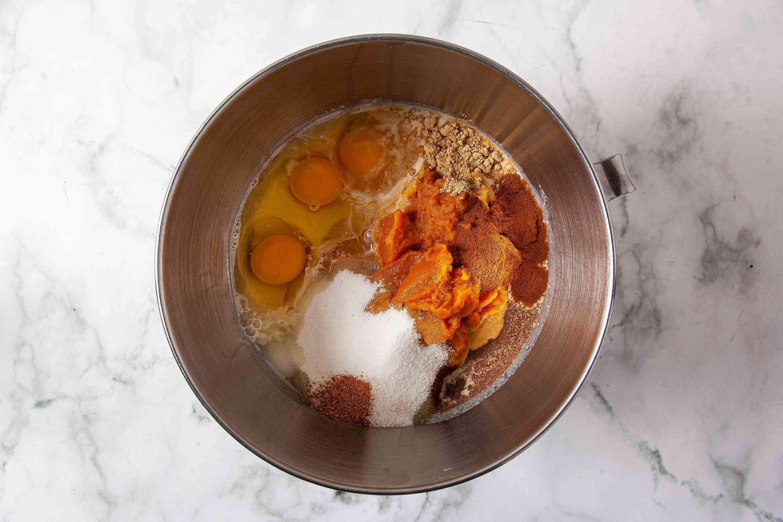 combine ingredients for pumpkin pie filling