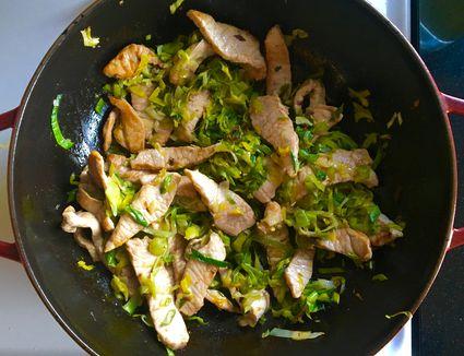 Leek & Pork Stir-Fry in pan