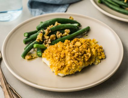 Baked cod with cornflake crust