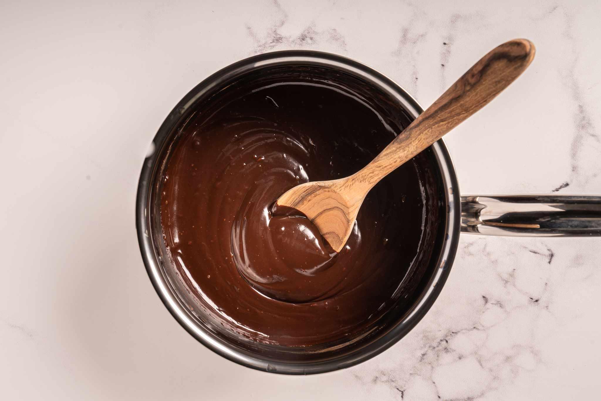 Vegan Dairy-Free Chocolate Ganache in a saucepan