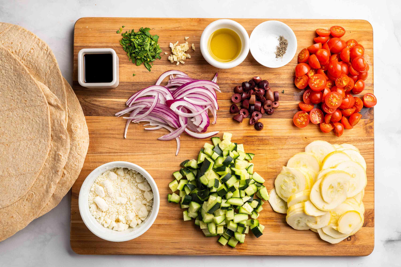 Ingredients to make Greek vegetable wraps
