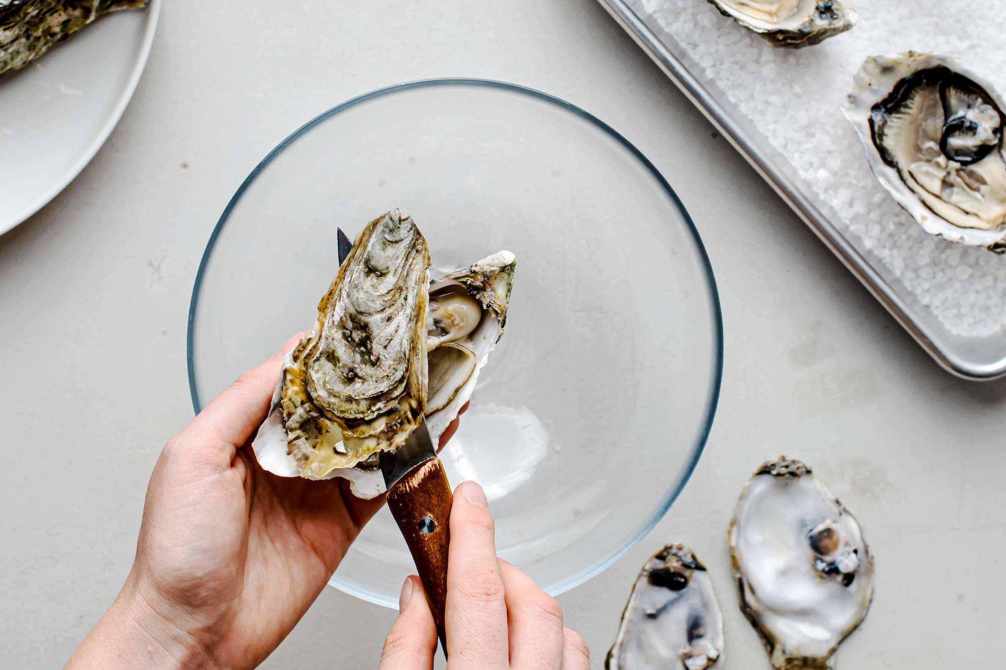 Shuck oysters over a bowl