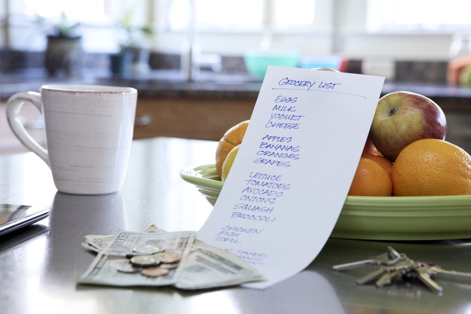 Grocery List on Kitchen Counter