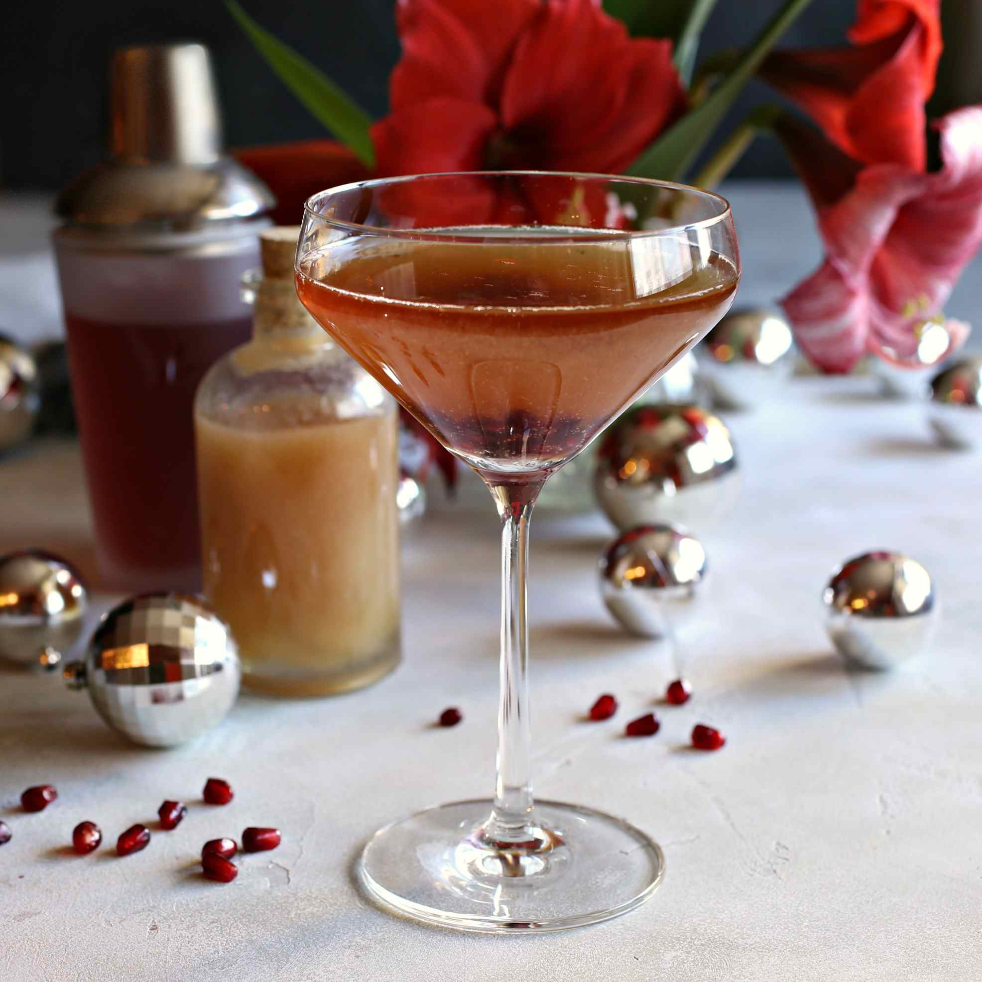Pear and Pomegranate Champagne Shrub