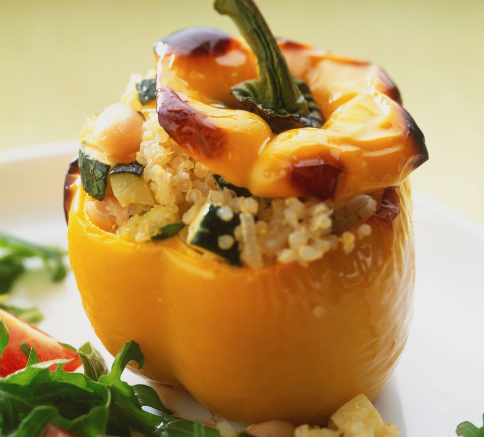 Vegetarian couscous-stuffed bell peppers