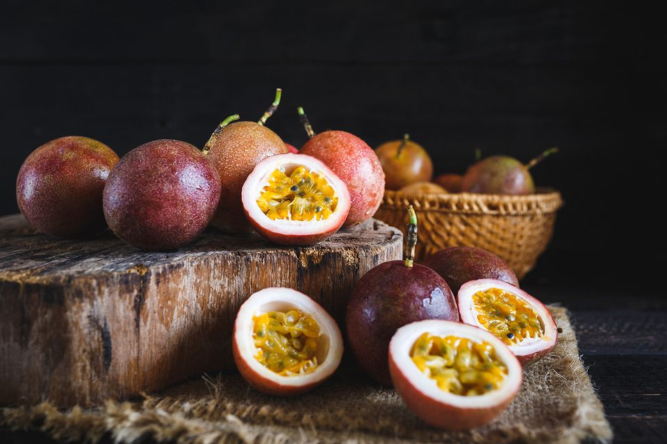 Close-up of fresh passion fruits on table