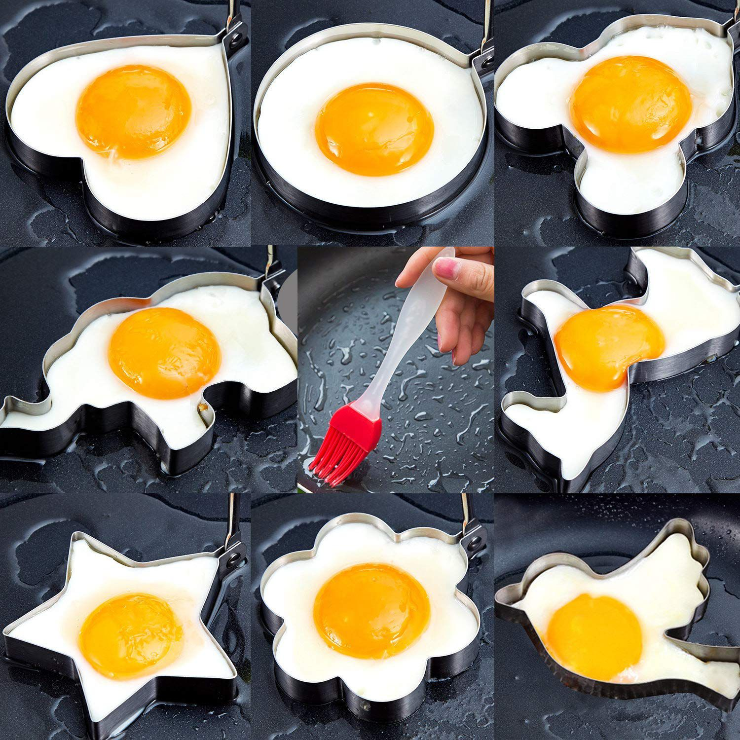Larger Non Stick Metal Egg Frying Rings Perfect Circle Round Fried Poach Mould Mould Non-Stick Egg Rings Cooking Egg Fried Pancake Omelets Mold Rings Kitchen Tool Pancake Rings