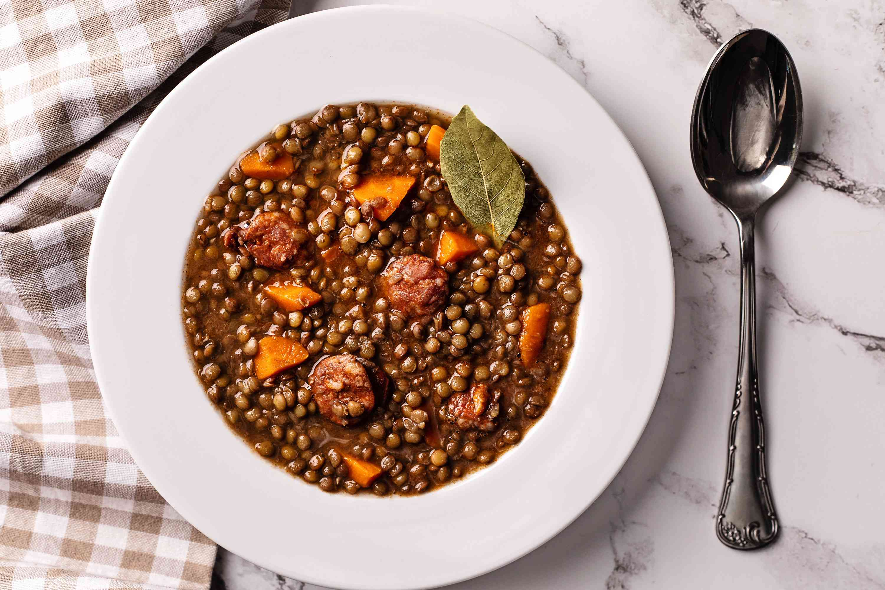 Herbed Lentils with Italian Sausage