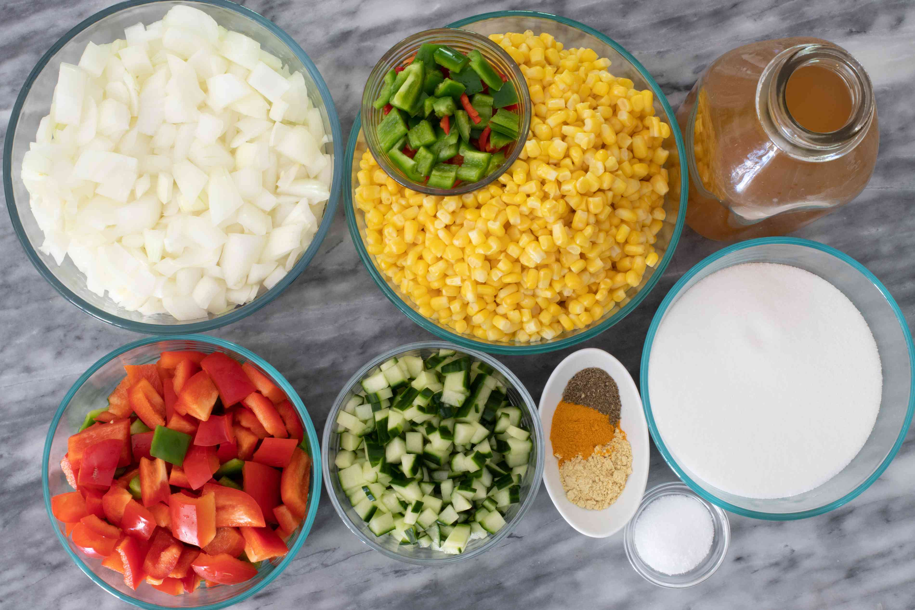 Ingredients for corn relish.