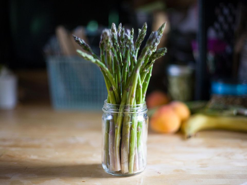 Asparagus in glass jar