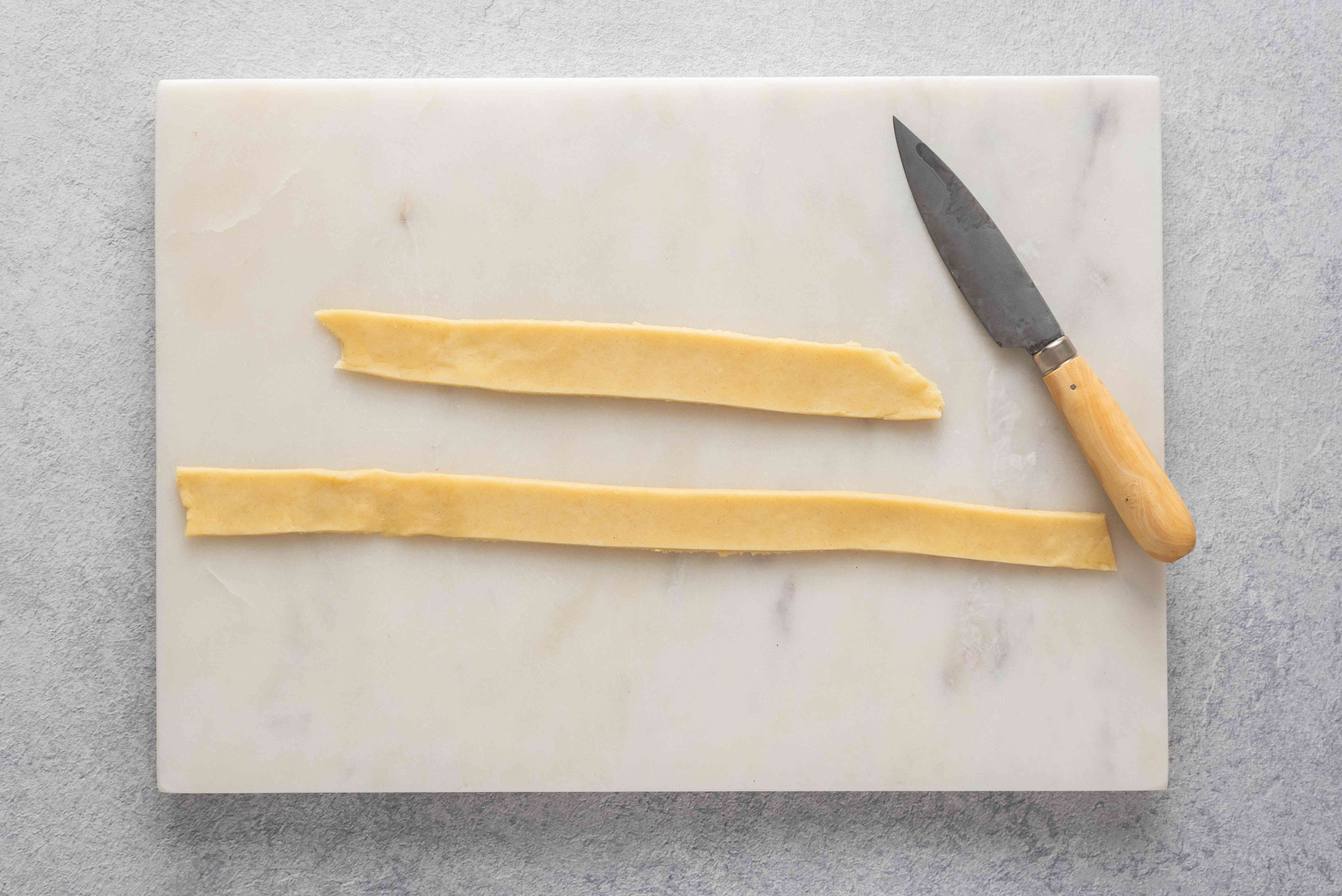 pie dough cut into strips