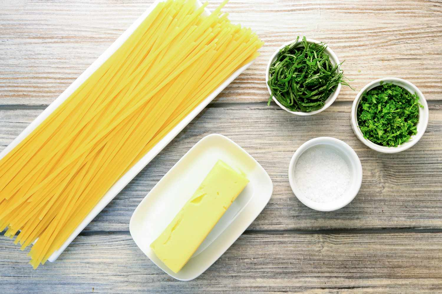Ingredients for buttered herb pasta